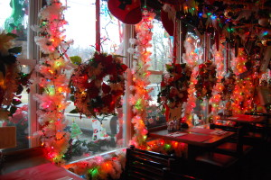 Decorations draw visitors into Bob's Garage. Photo by Emily Balser, Point Park News Service.