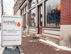 Embody Natural Health, organic juice cafe and studio, is on Butler Street in Lawrencevile. Photo: Shelby Horne | Point Park News Service