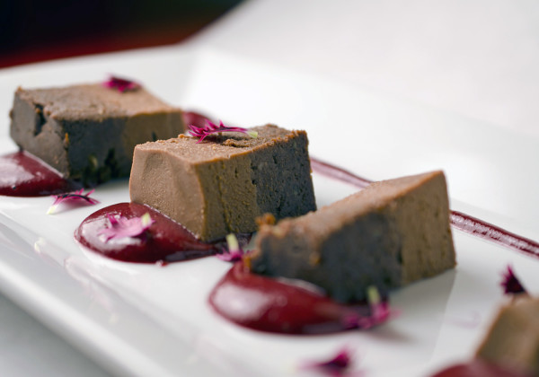 Almond chocolate cake made with ginger, cayenne and ganache is one of the raw food menu items at Eden. Photo: Eden