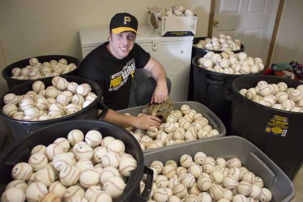 Ballhawk Erik Jabs has a collection of nearly 3,000 baseballs. Photo: Matt Nemeth | Point Park News Service