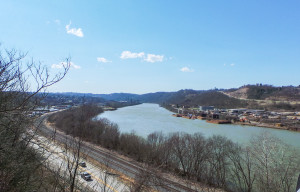 The coke plant in Monessen can be seen down left along the Monongahela River from the Donora-Monessen Bridge. Holly Tonini / Point Park News Service
