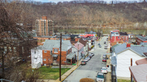 A view from the top of the Third Street steps in Monongahela shows businesses, new and old, as well as many houses that make up the second-smallest city in Pennsylvania. Holly Tonini / Point Park News Service