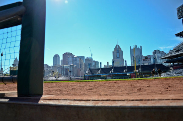 The view from the Pirates dugout during a tour at PNC Park on Sept. 24, 2014. Photo: Haley Wisniewski | Point Park News Service