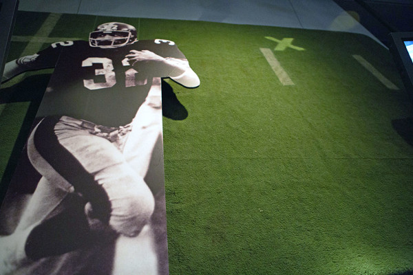 The Sports Museum, within the History Center, displays a piece of turf from Three Rivers Stadium where Franco Harris made the Immaculate Reception on Dec. 23, 1972. Photo: Ralph Musthaler | Point Park News Service