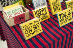 Alethea Okonak's cards celebrate the region's love of Pittsburghese.  Photo: Sarah Collins   Point Park News Service
