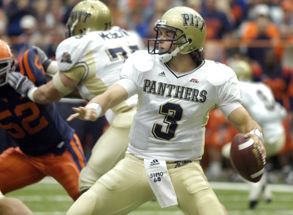 Pittsburgh quarterback Tyler Palko sets to throw against Syracuse in 2006. AP Photo/Kevin Rivoli