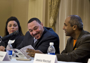 Black-n-Gold Girls founder Cassandra Buncie, former Steelers quarterback Charlie Batch (left) and Met chief digital officer Sree Sreenivasan were among the panelists for  #Burgh @ Point Park on March 24, 2015. Photo: Haley Wisniewski | Point Park News Service