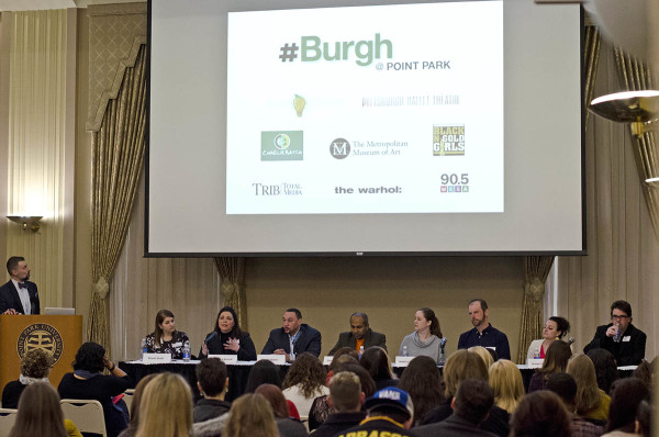 News service director Andrew Conte (left) moderates the #Burgh @ Point Park panel discussion on March 24, 2015 at Point Park University. The panel  featured (seated from left) Brandi Smith of Smith Bros. Agency, Cassandra Buncie of Black-n-Gold Girls, retired Steeler Charlie Batch, Sree Sreenivasan of the Met, Jessica Warchall of The Andy Warhol Museum, Josh Raulerson of WESA-FM, Aimee DiAndrea of Pittsburgh Ballet Theatre and Rob Rossi of Pittsburgh Tribune-Review. Photo: Haley Wisniewski | Point Park News Service