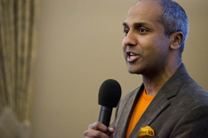 Sree Sreenivasan, chief digital officer of the Metropolitan Museum of Art,  begins the discussion of social media importance at #Burgh @ Point Park on the university campus on March 24, 2015. Photo: Haley Wisniewski | Point Park News Service