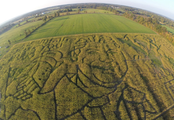 Photo by Steven Adams Steven Adams and his drone capture this aerial view of a field honoring Mario Lemieux.