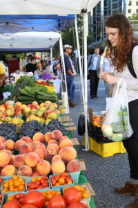 An array of fresh fruit is available for customers to purchase at the farmer's market. Photo by Emily Koch, Point Park News Service.