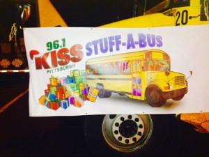 """Pittsburgh Radio station 96.1 Kiss FM partnered with the Toys for Tots Foundation to host a toy drive called """"Stuff-a-Bus,"""" which lasted for five days at the Robinson Town Centre parking lot this year. Photo by Gina DiGiorgio, Point Park News Service."""