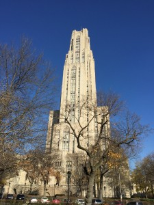 The Cathedral of Learning served as the stomping ground for Pittsburgh Million Student March on Nov. 12. Photo by Alicia Green.