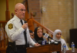 Pittsburgh Police Chief Cameron McLay speaks at the Islamic Center of Pittsburgh in December 2015. Pittsburgh Tribune Review.