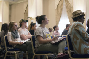 Point Park students listen to media professionals in the Lawrence Hall Ballroom for the #MediaPioneers Afternoon Panel. Photo credit: Julie Kooser, Point Park News Service.