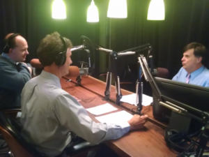 """Chris Potter, reporter at Pittsburgh Post-Gazette, Mark Nootbaar, reporter at WESA, and Kevin Gavin during the on-air debut of """"The Confluence."""" Photo credit: Nicholas Vercilla, Point Park News Service."""