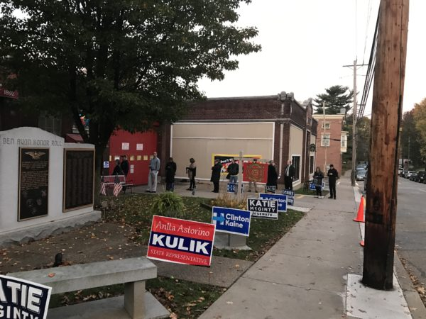 By 6:30am, a line had already formed outside of this polling place in Ben Avon, PA. Photo credit, Andrew W. Henderson, Point Park News Service.