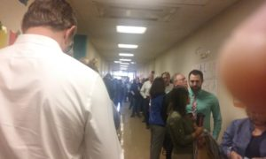 The voting line at Forest Grove Elemantary School. Photo credit: Edward Trizzino, Point Park News Service