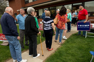 Pennsylvania voters wait in line at a Murrysville polling location during the April 2016 primary election. Photo credit: Sean Stipp, Tribune-Review